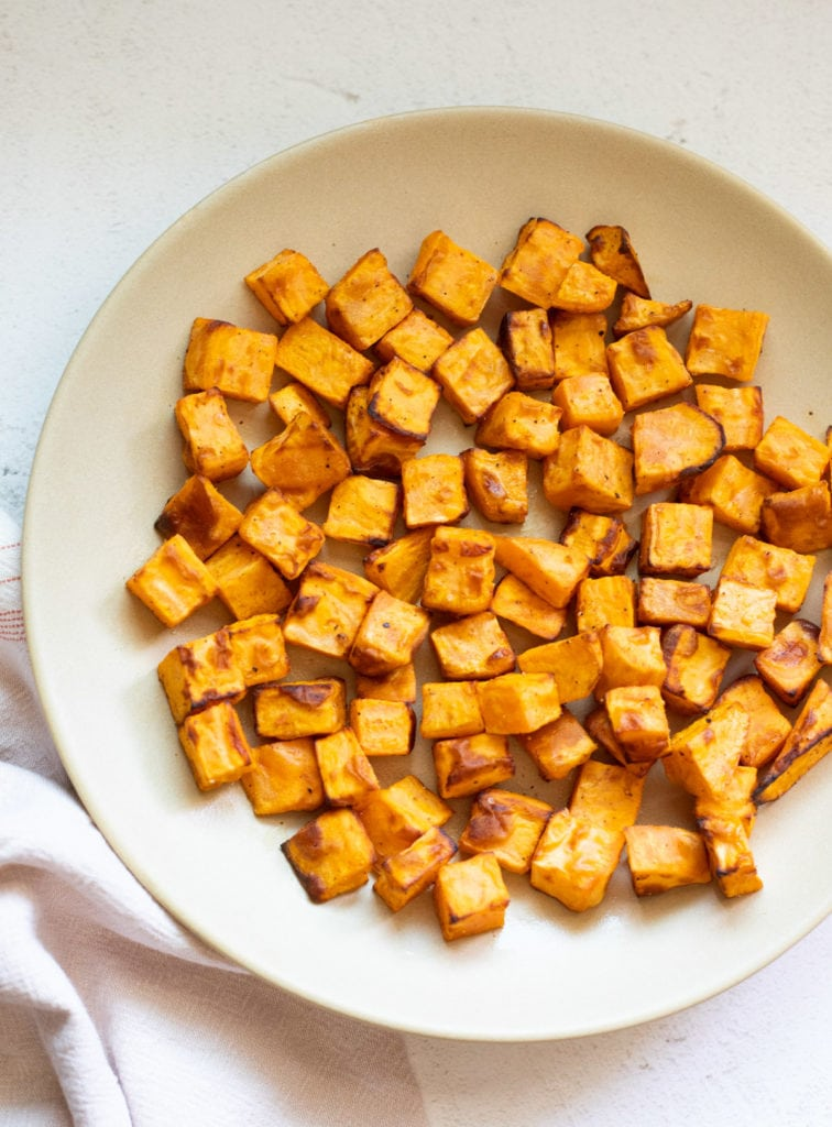 roasted sweet potatoes in a plate