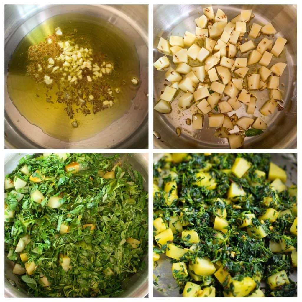 step by step image collage of Aloo Methi (potato fenugreek leaves stir fry)