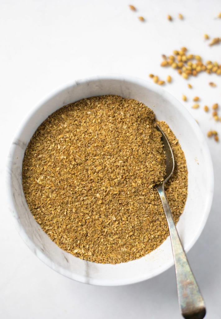 Coriander Powder in a white bowl
