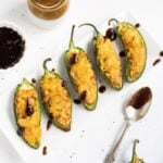 Cheesy Samosa Jalapeno poppers with tamarind chutney and mint chutney