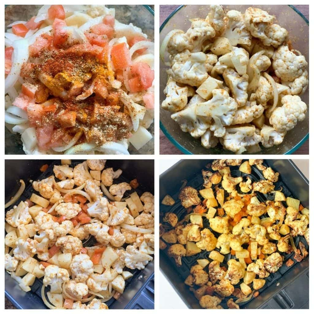 Roasted Aloo Gobi in Air Fryer Step by Step