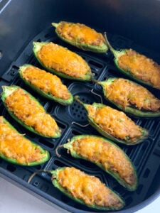 Cooked air fryer jalapeno poppers - with vegetarian potato filling