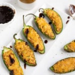 Indian cheesy samosa jalapeno poppers with tamarind chutney