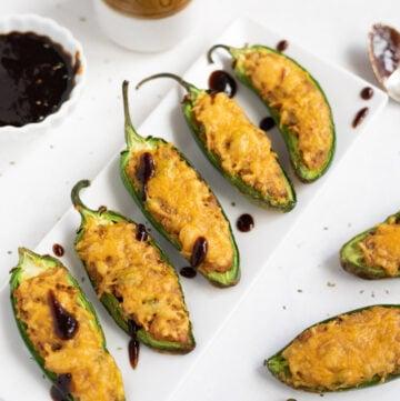 Indian cheesy samosa jalapeno poppers with tamarind chutney