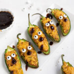 Cute halloween jalapeno poppers with eyes and nose