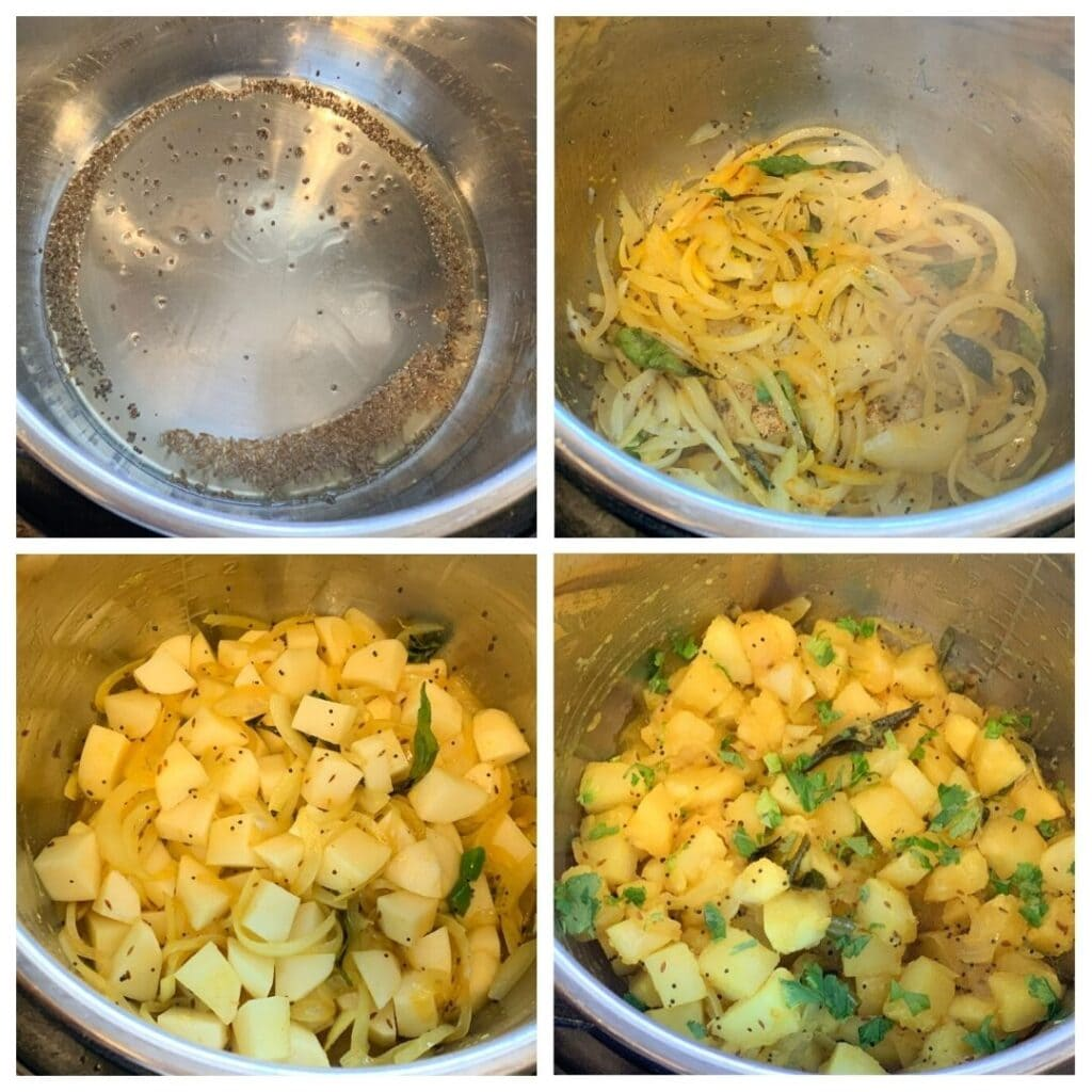 Steps to make Indian potato stir fry made in the instant pot