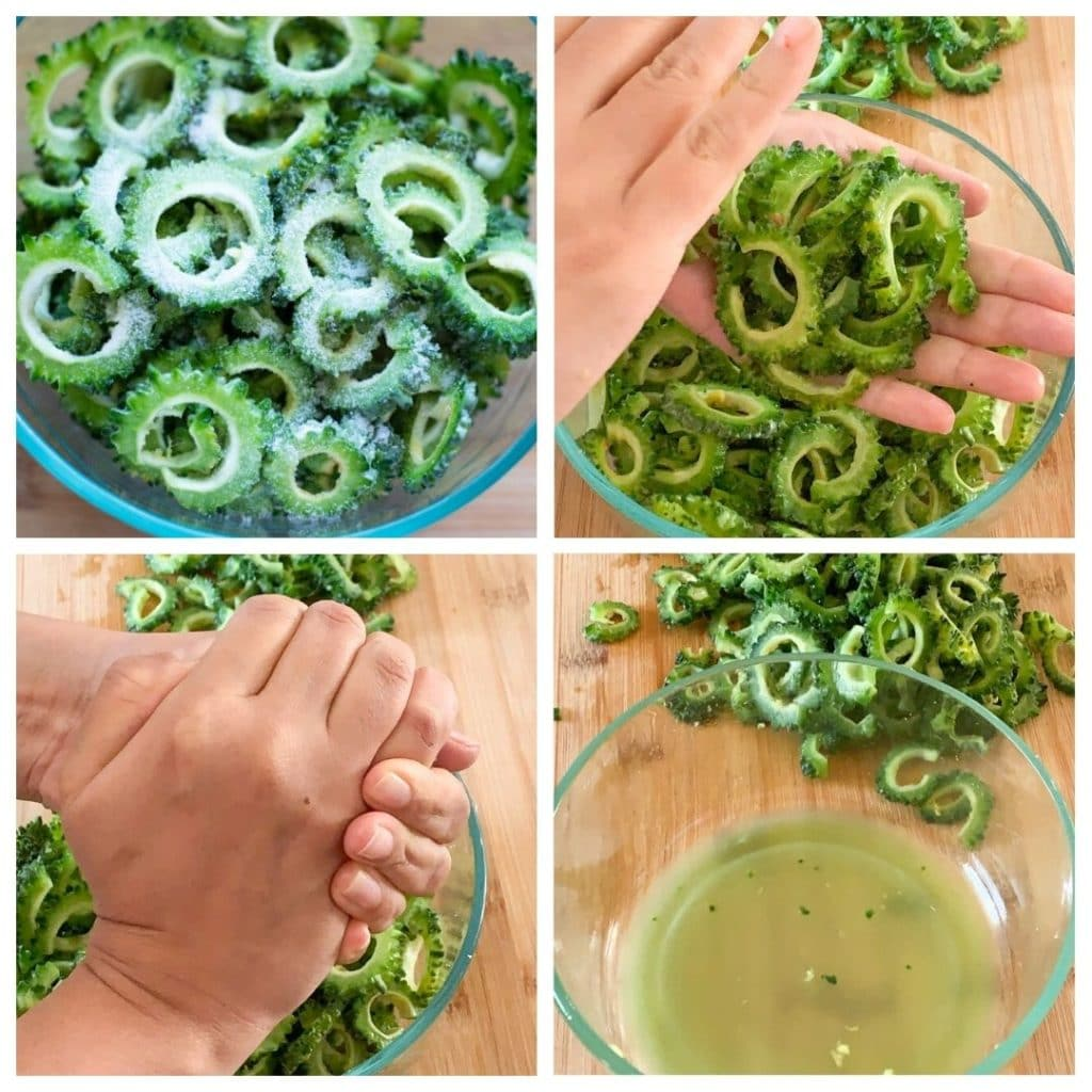 step by step to reduce bitterness of karela by applying salt and removing the liquid