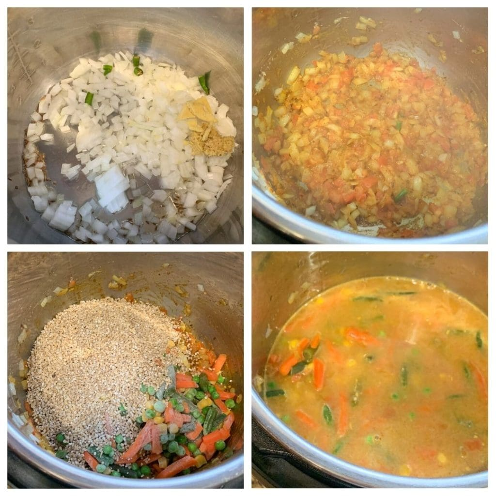 Step by step for masala savory oats in the instant pot