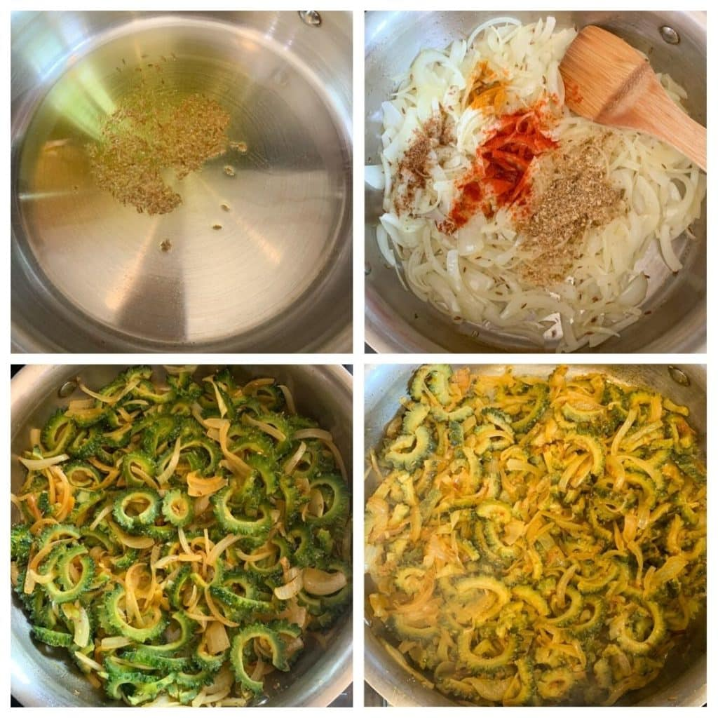 step by step to cook bitter melon (karela) in a pan with onions and spices