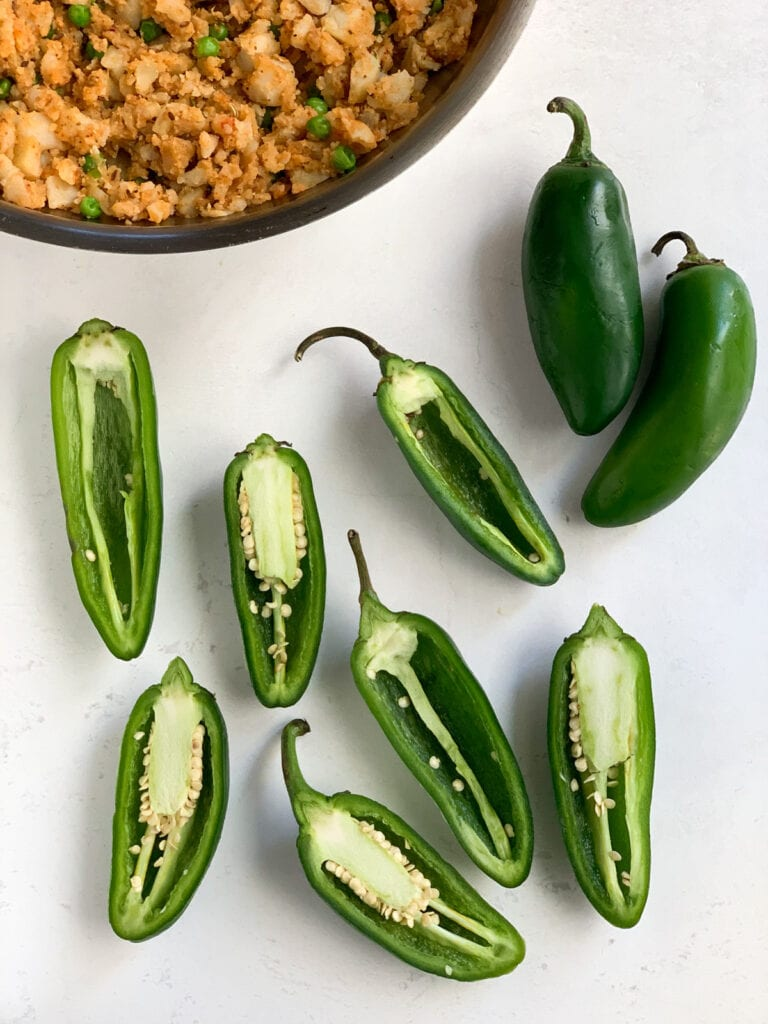 Jalapeños cut and deseeded