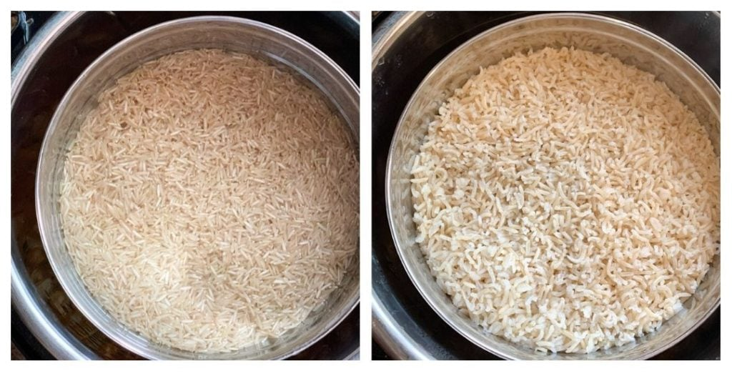 pot-in-pot brown rice being cooked in the instant pot