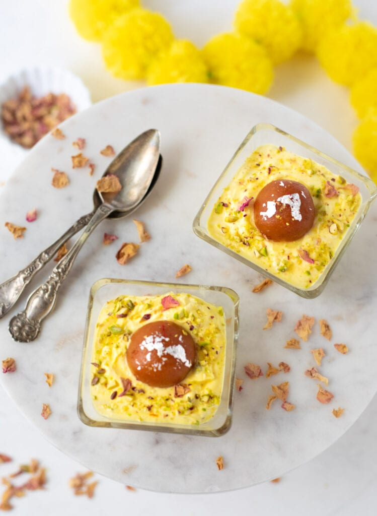 Gulab Jamun Shrikhand Cups on a pretty marble table