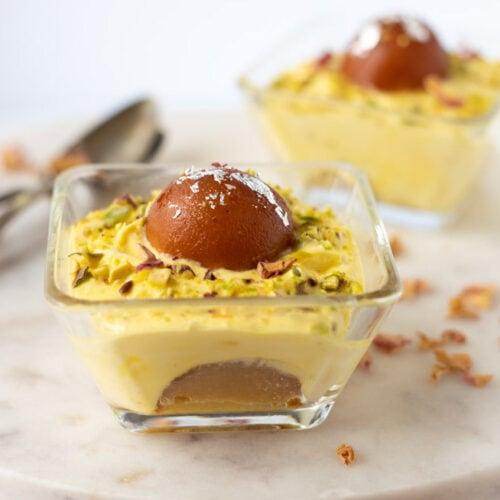 Gulab Jamun shrikhand in a bowl as a pretty dessert