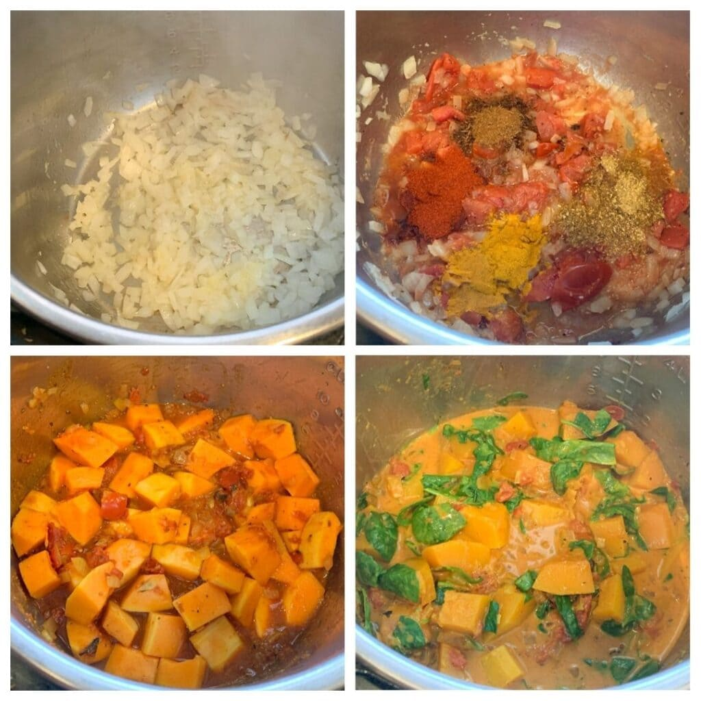 butternuts squash curry being made in the instant pot - step by step collage