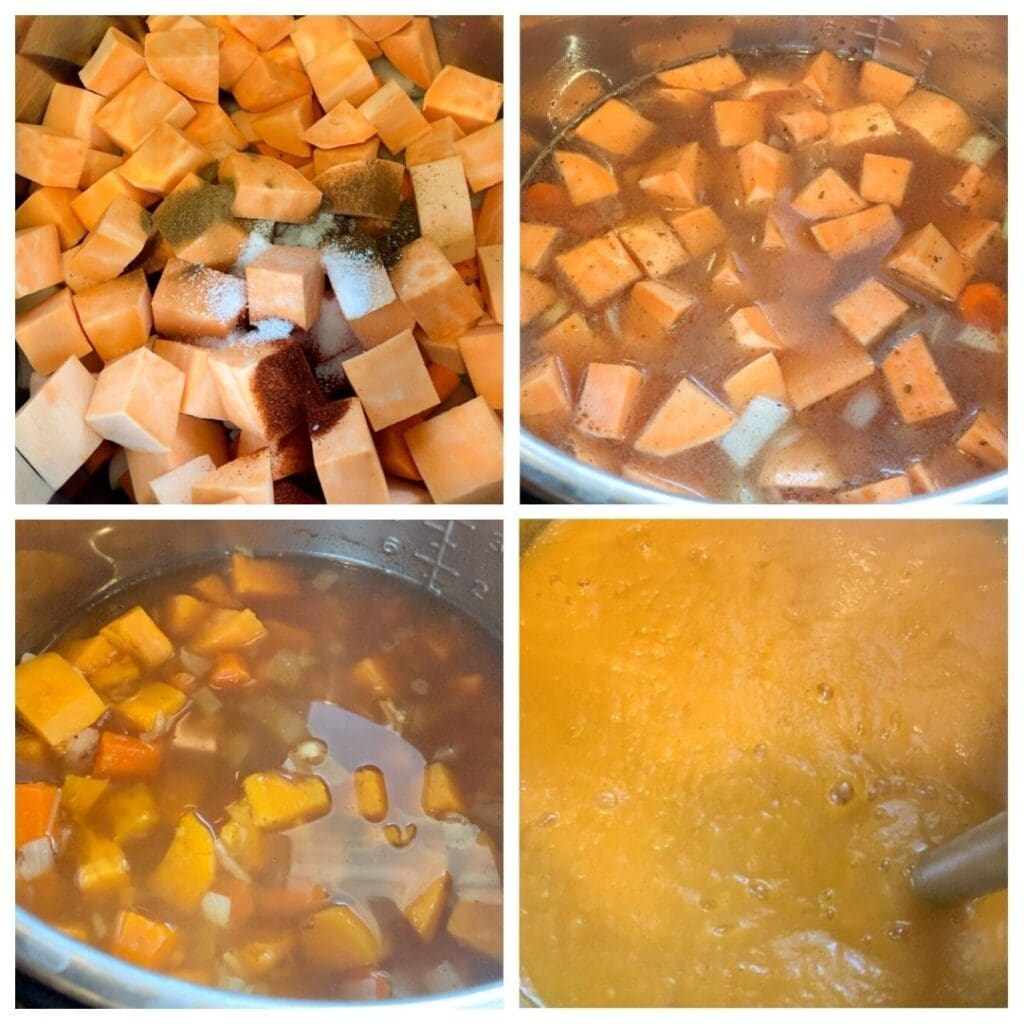 step by step photos of making sweet potato soup in a instant pot