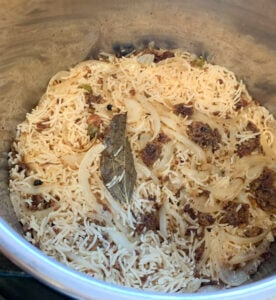 Cooked wadi rice pulao in the instant pot