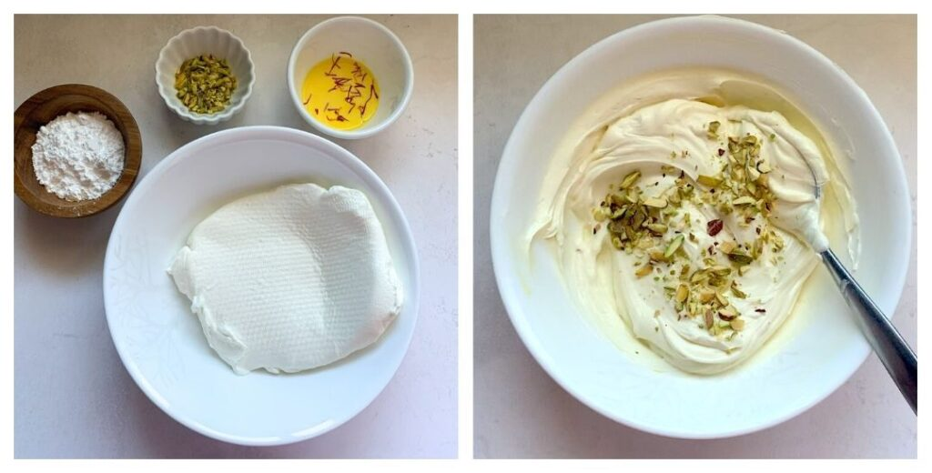Making shrikhand with saffron, eleaichi and pistachios
