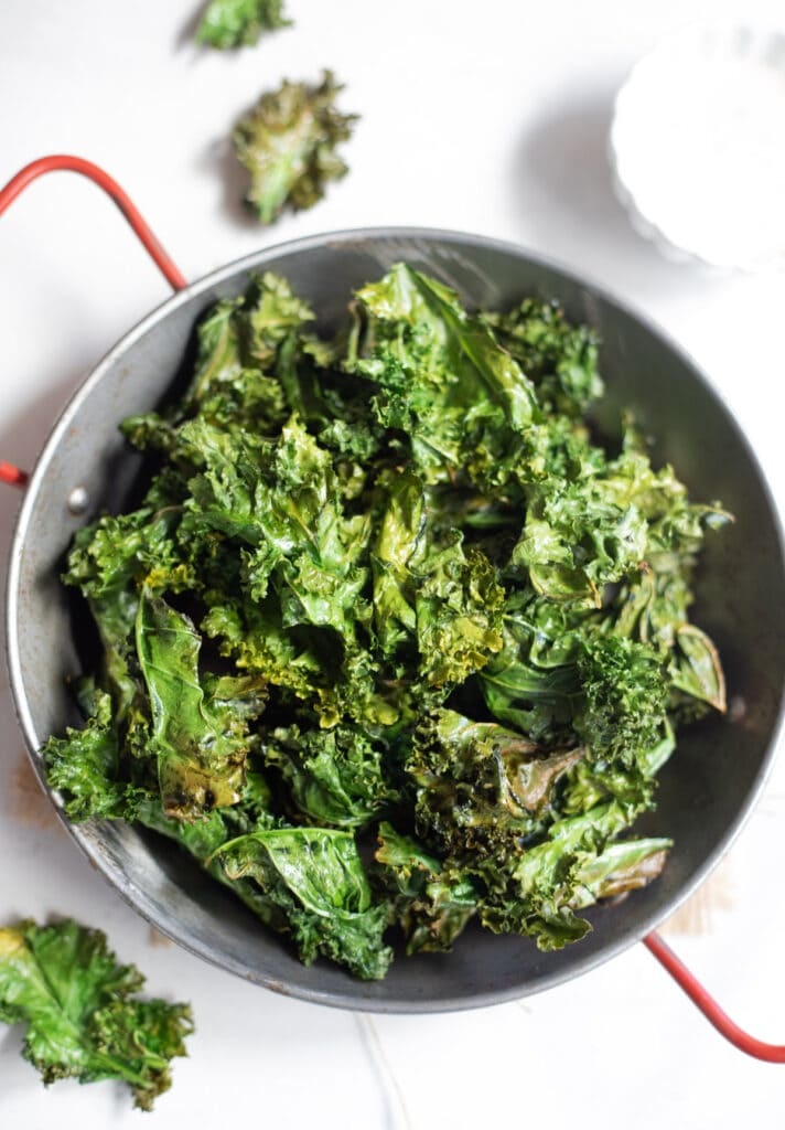 Crispy Kale Chips in a platter