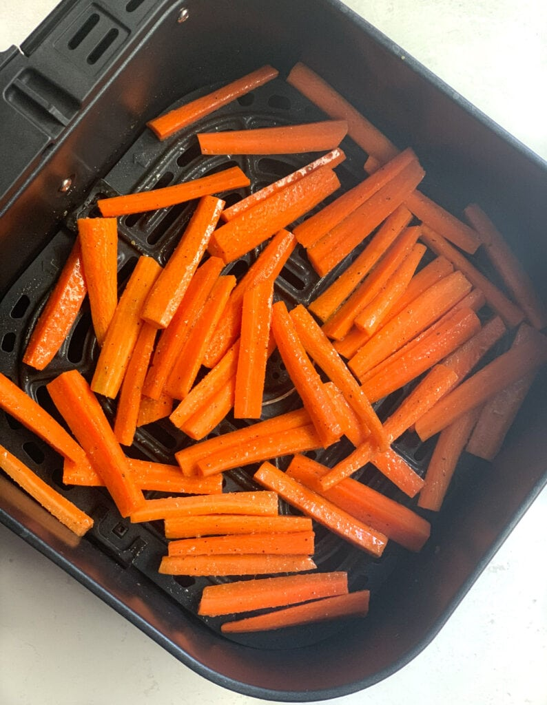 carrots ready to be roasted in air fryer