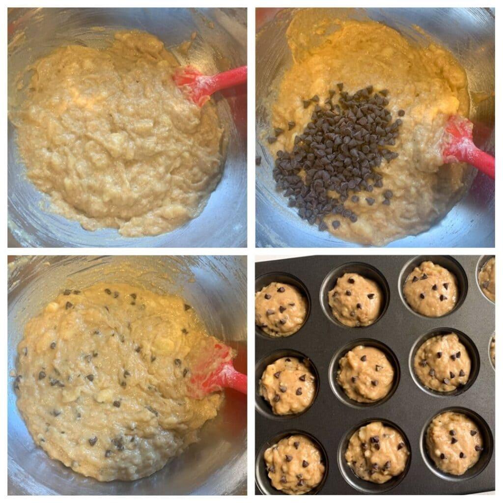Banana Flax Chocolate Chip Muffins steps