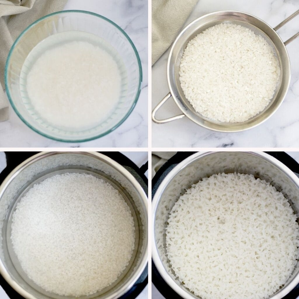 How to cook sushi rice step by step collage