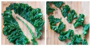 how to cut kale to make kale chips