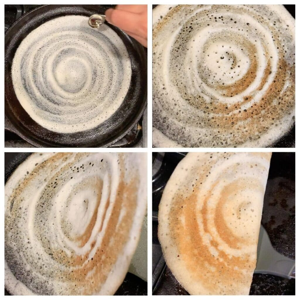 How to make crispy dosa and remove from the cast iron pan