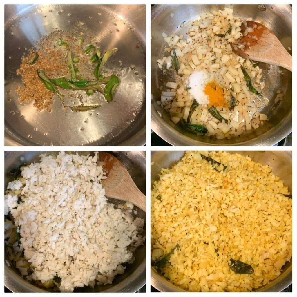 How to make poha in a pan step by step