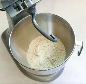 Whole wheat flour (aata) in mixing bowl of kitchenaid mixer