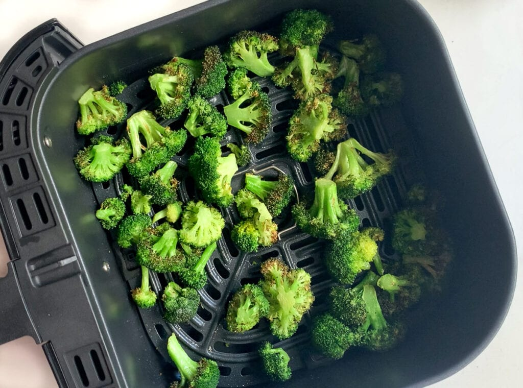 air fried broccoli with some crispy edges