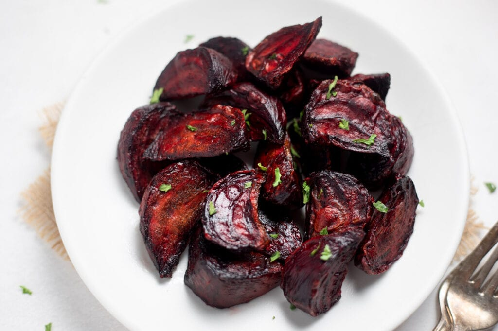 Air fryer roasted beets in a plate