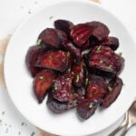 air fryer beets in a plate topped with parsley