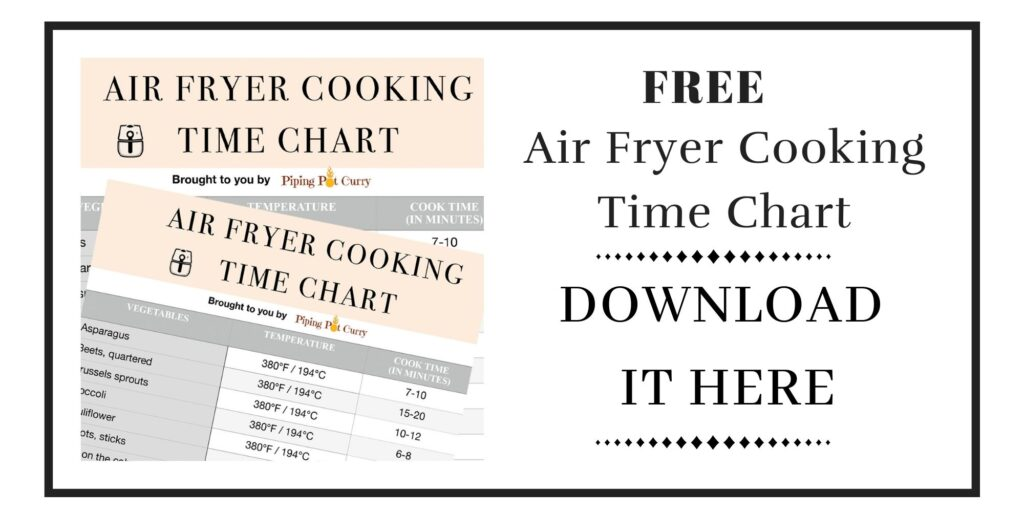 Download free copy of air fryer cooking time chart