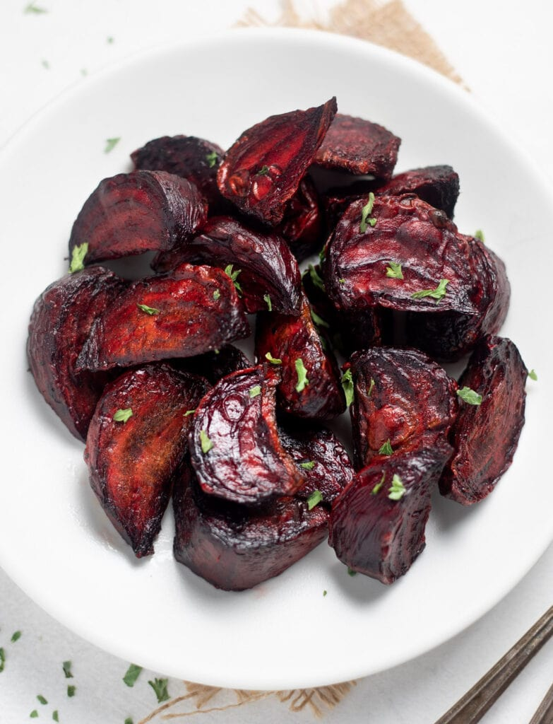 Perfectly Roasted beets served in a white plate