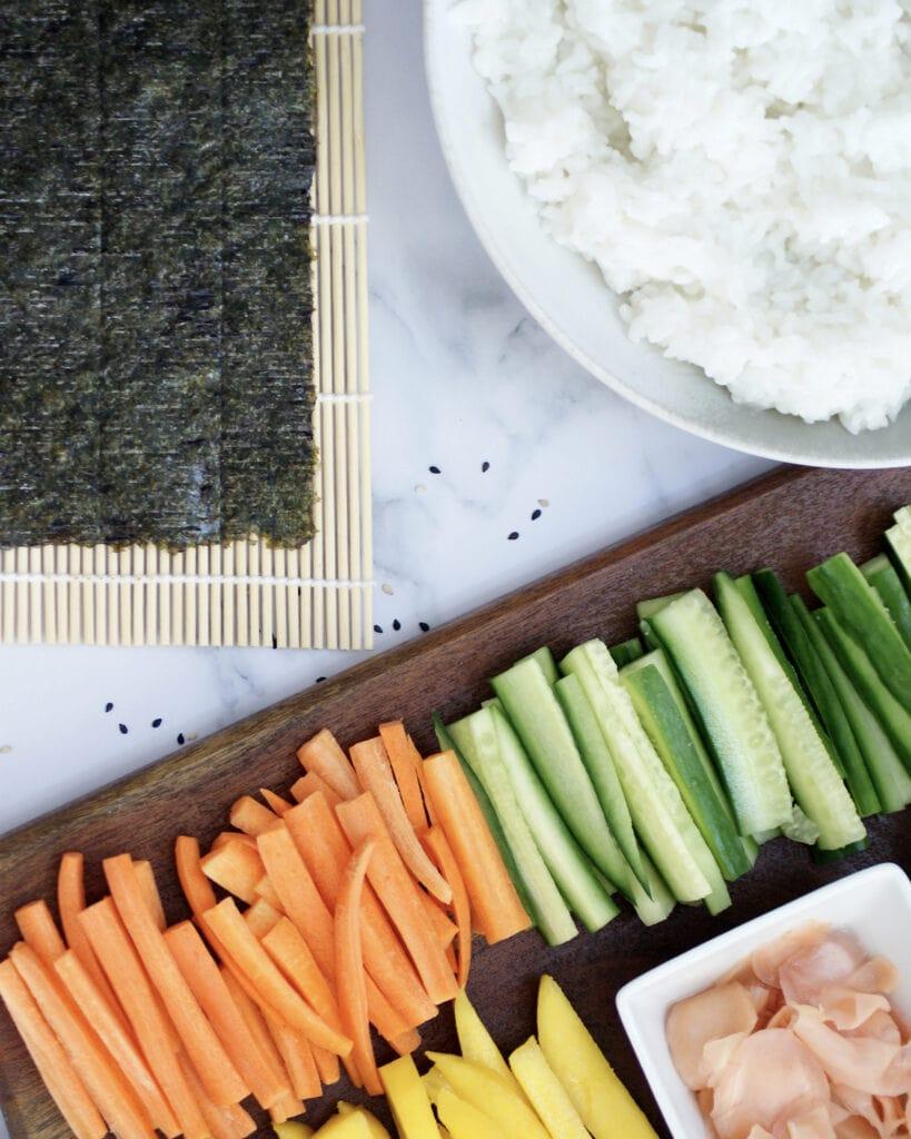 Ingredients to make sushi