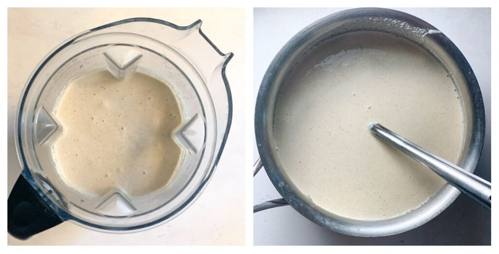 Dosa batter in the blender and in a bowl