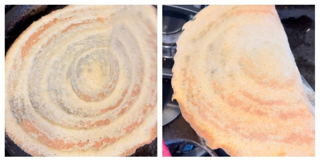 Steps to take dosa from a cast iron griddle with a flat spatula