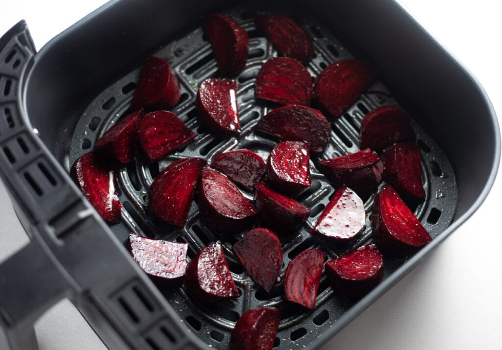Beets ready to be roasted in the air fryer