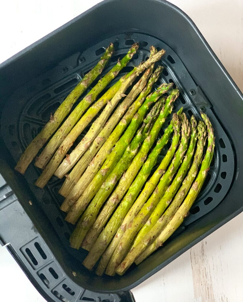 air fried asparagus in the basket