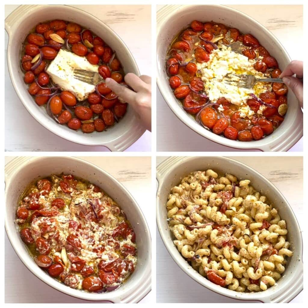 4 picture collage of mixing baked feta cheese into cherry tomatoes and then adding pasta