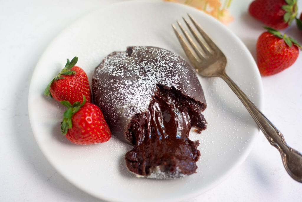 Chocolate lava cake with the lava flowing out