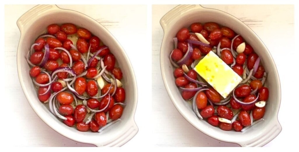 two baking dishes with cherry tomatoes sliced red onions and a block of feta cheese