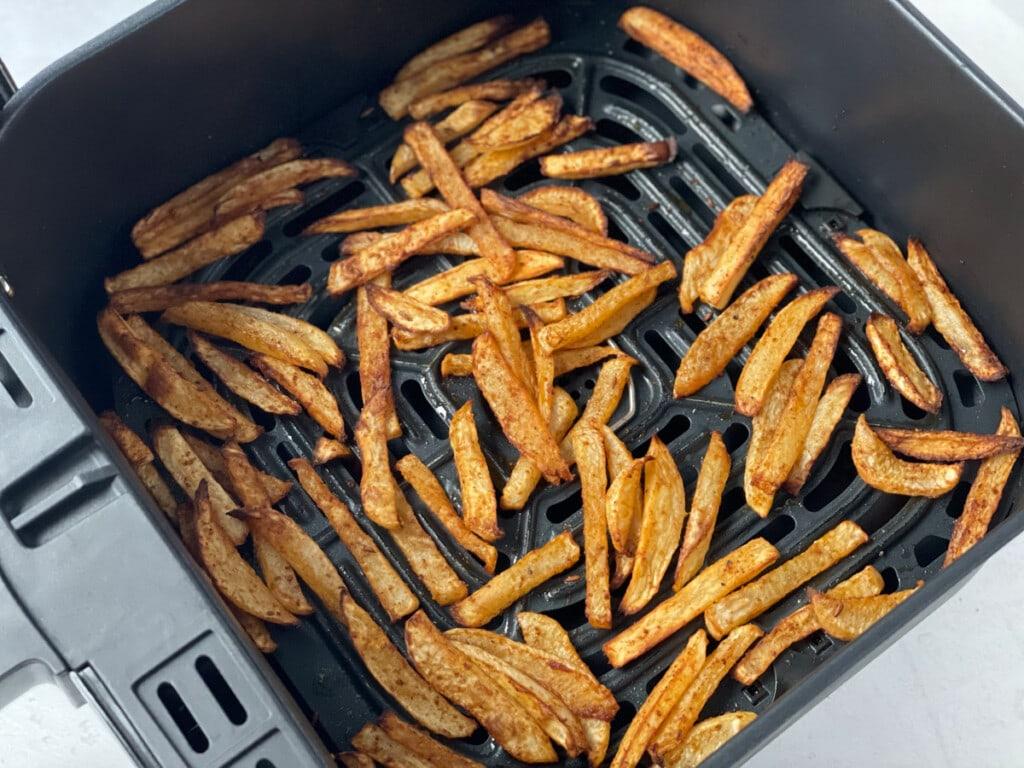 Roasted turnip fries in the air fryer basket