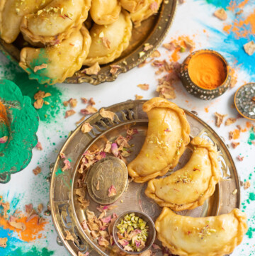 Mawa Gujiya (also called karanji, ghughra, kajjikayalu, karjikai) served for Holi