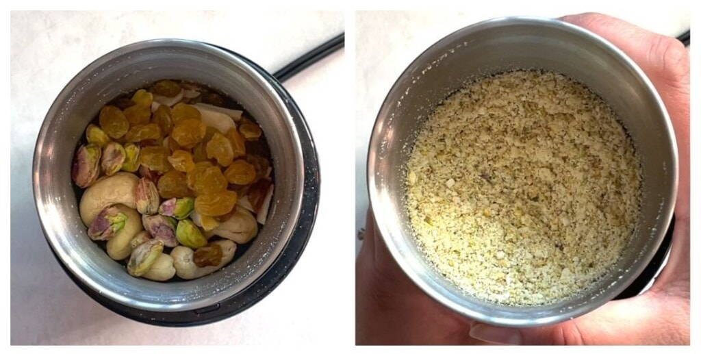 coarsely Grind nuts and raisins in a spice grinder