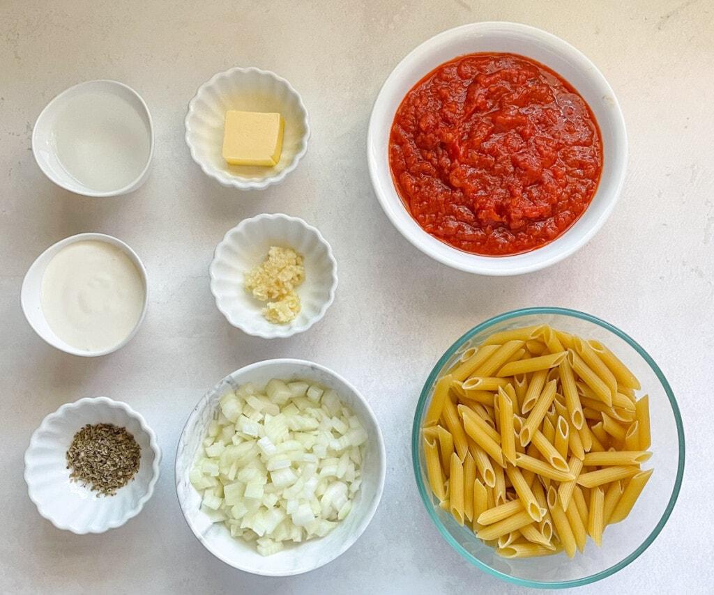 ingredients for penne alla vodka