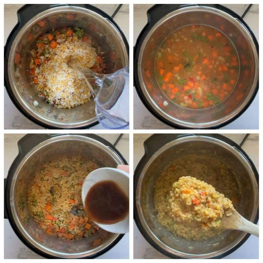 Steps to make Bisi Bele Bath in instant pot. And adding tamarind water to the cooked lentils and rice.
