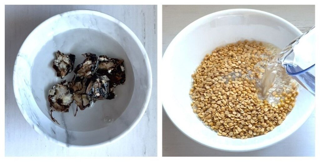 Tamarind soaked in water. And dal and rice in a bowl with water being poured.