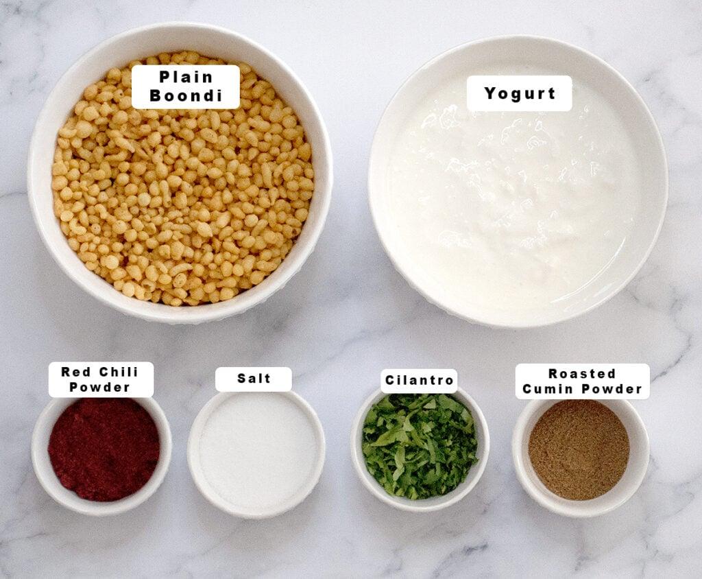 Ingredients for dahi boondi