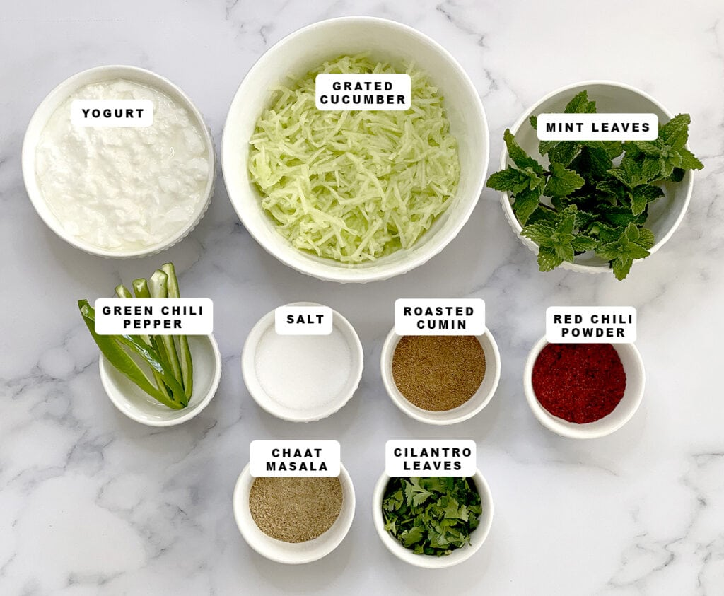 Ingredients for kakdi Raita